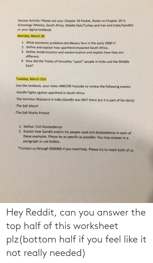 Worksheet: Hey Reddit, can you answer the top half of this worksheet plz(bottom half if you feel like it not really needed)