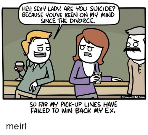 channelate: HEY, SEXY LADY. ARE YOU SUICIDE?  BECAUSE YOU'VE BEEN ON MY MIND  SINCE THE DIVORCE  channelate.com  SO FAR MY PICK-UP LINES HAVE  FAILED TO WIN BACK MY EX. meirl