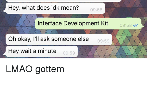 Lmao, Mean, and Okay: Hey, what does idk mean?  09:58  Interface Development Kit  09:58  Oh okay, l'll ask someone else  09:59  Hey wait a minute  09:59 LMAO gottem