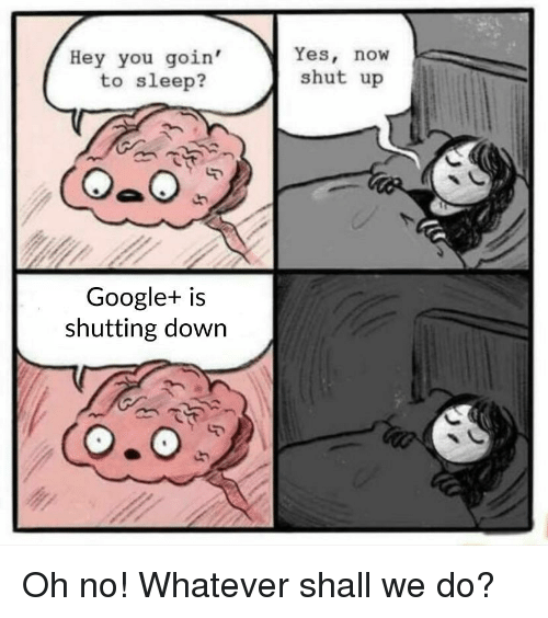 Hey You Goin' to Sleep? Yes Now Shut Up Google+ Is Shutting Down