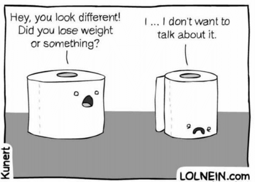Com, Did, and You: Hey,you look different!  Did you lose weight  or something?  .. I don't want to  talk about it.  LOLNEIN.com  Kunert