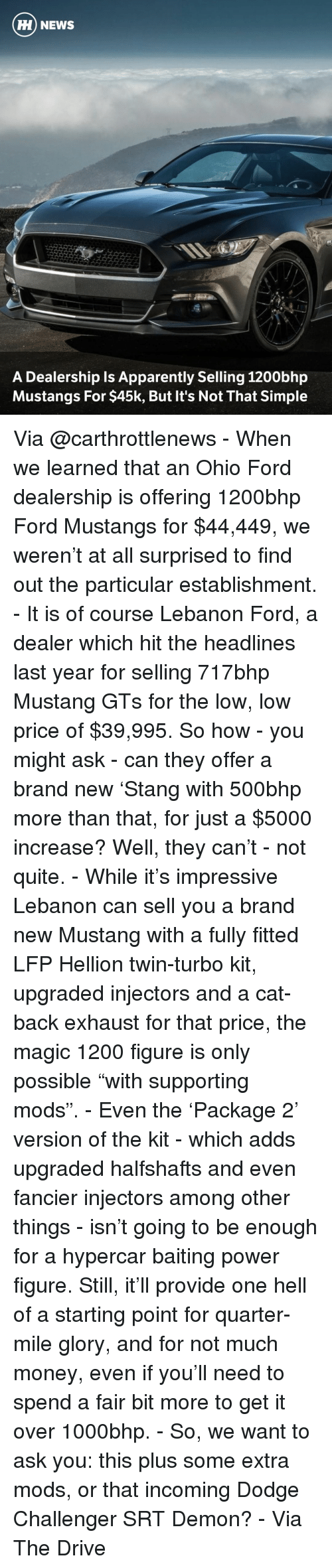 "a-starting-point: HH NEWS  A Dealership Is Apparently Selling 1200bhp  Mustangs For $45k, But It's Not That Simple Via @carthrottlenews - When we learned that an Ohio Ford dealership is offering 1200bhp Ford Mustangs for $44,449, we weren't at all surprised to find out the particular establishment. - It is of course Lebanon Ford, a dealer which hit the headlines last year for selling 717bhp Mustang GTs for the low, low price of $39,995. So how - you might ask - can they offer a brand new 'Stang with 500bhp more than that, for just a $5000 increase? Well, they can't - not quite. - While it's impressive Lebanon can sell you a brand new Mustang with a fully fitted LFP Hellion twin-turbo kit, upgraded injectors and a cat-back exhaust for that price, the magic 1200 figure is only possible ""with supporting mods"". - Even the 'Package 2' version of the kit - which adds upgraded halfshafts and even fancier injectors among other things - isn't going to be enough for a hypercar baiting power figure. Still, it'll provide one hell of a starting point for quarter-mile glory, and for not much money, even if you'll need to spend a fair bit more to get it over 1000bhp. - So, we want to ask you: this plus some extra mods, or that incoming Dodge Challenger SRT Demon? - Via The Drive"