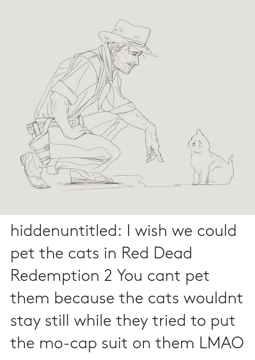 Cats, Lmao, and Target: hiddenuntitled: I wish we could pet the cats in Red Dead Redemption 2  You cant pet them because the cats wouldnt stay still while they tried to put the mo-cap suit on them LMAO