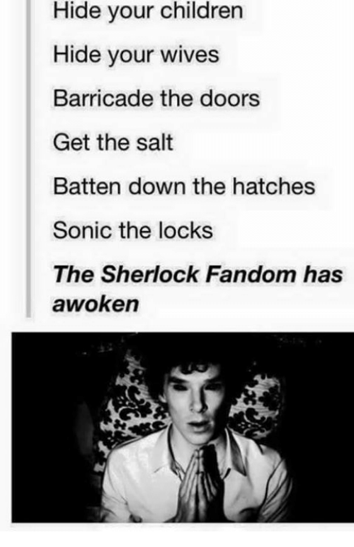 Children, Memes, and Sherlock: Hide your children  Hide your wives  Barricade the doors  Get the salt  Batten down the hatches  Sonic the locks  The Sherlock Fandom has  awoken