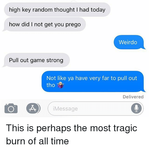 prego: high key random thought I had today  how did I not get you prego  Weirdo  Pull out game strong  Not like ya have very far to pull out  tho  Delivered  Message This is perhaps the most tragic burn of all time