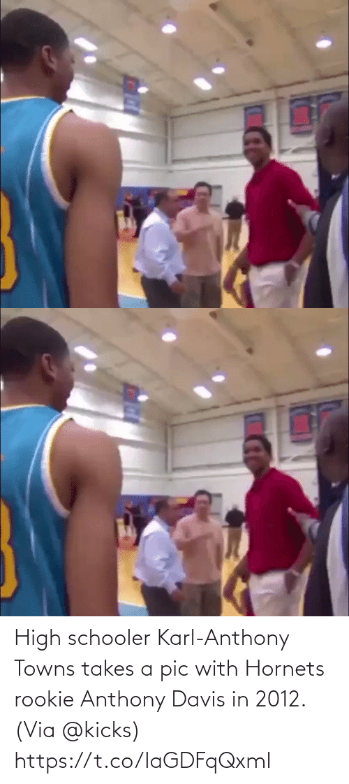 Karl-Anthony Towns: High schooler Karl-Anthony Towns takes a pic with Hornets rookie Anthony Davis in 2012.  (Via @kicks)  https://t.co/IaGDFqQxmI
