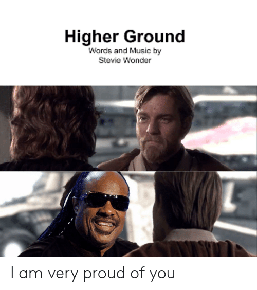 Music, Stevie Wonder, and Proud: Higher Ground  Wards and Music by  Stevie Wonder I am very proud of you
