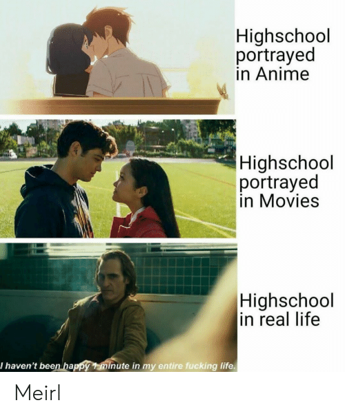 Anime, Fucking, and Life: Highschool  portrayed  in Anime  Highschool  portrayed  in Movies  Highschool  in real life  I haven't beenhappy minute in my entire fucking life Meirl