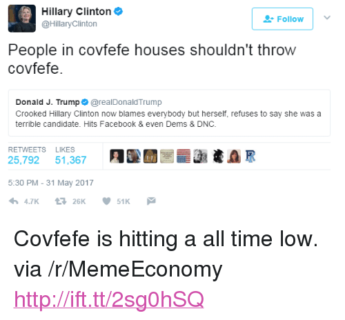 """all time low: Hillary Clinton  @HillaryClinton  Followv  People in covfefe houses shouldn't throw  covfefe.  Donald J. Trump @realDonaldTrump  Crooked Hillary Clinton now blames everybody but herself, refuses to say she was a  terrible candidate. Hits Facebook & even Dems & DNC.  RETWEETS LIKES  25,792 51,367 91써  5:30 PM -31 May 2017 <p>Covfefe is hitting a all time low. via /r/MemeEconomy <a href=""""http://ift.tt/2sg0hSQ"""">http://ift.tt/2sg0hSQ</a></p>"""