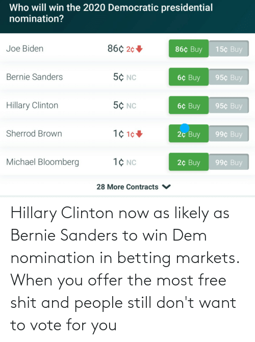 Bernie Sanders, Hillary Clinton, and Free: Hillary Clinton now as likely as Bernie Sanders to win Dem nomination in betting markets. When you offer the most free shit and people still don't want to vote for you