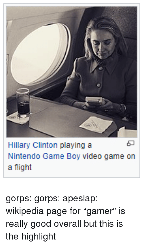 "Hillary Clinton, Nintendo, and Tumblr: Hillary Clinton playing a  Nintendo Game Boy video game on  a flight gorps: gorps:   apeslap:  wikipedia page for ""gamer"" is really good overall but this is the highlight"