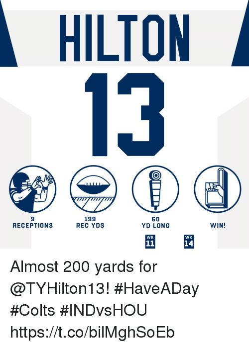 Bailey Jay, Indianapolis Colts, and Memes: HILTON  13  9  RECEPTIONS  199  REC YDS  60  YD LONG  WIN!  WK  WK  14 Almost 200 yards for @TYHilton13! #HaveADay #Colts  #INDvsHOU https://t.co/bilMghSoEb