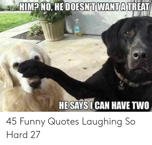 Funny, Quotes, and Him: HIM? NO. HE DOESNT WANTA TREAT  HESAYSI CAN HAVE TWO 45 Funny Quotes Laughing So Hard 27