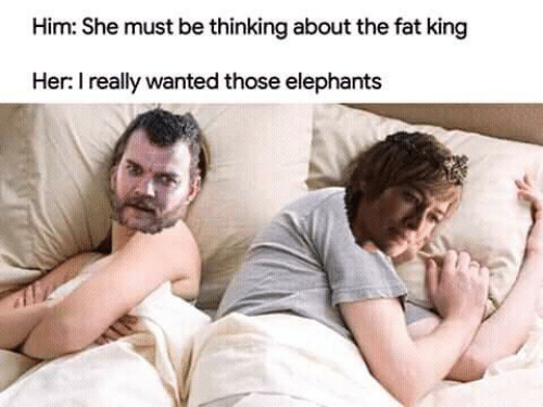 Game of Thrones, Fat, and Elephants: Him: She must be thinking about the fat king  Her: I really wanted those elephants
