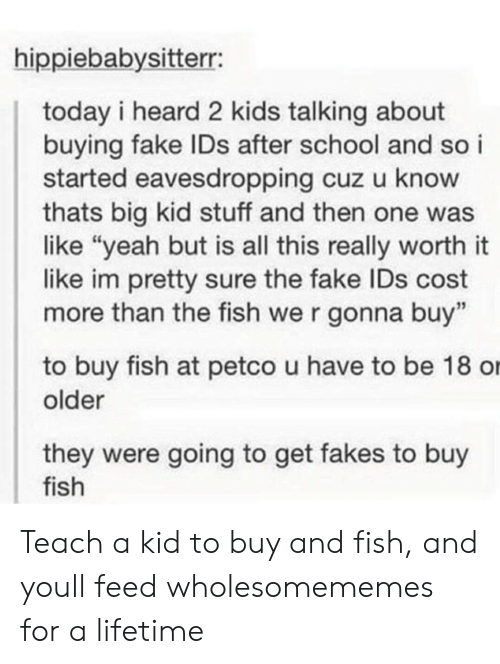 """Fake, School, and Yeah: hippiebabysitterr:  today i heard 2 kids talking about  buying fake IDs after school and so i  started eavesdropping cuz u know  thats big kid stuff and then one was  like """"yeah but is all this really worth it  like im pretty sure the fake IDs cost  more than the fish we r gonna buy""""  to buy fish at petco u have to be 18 o  older  they were going to get fakes to buy  fish Teach a kid to buy and fish, and youll feed wholesomememes for a lifetime"""