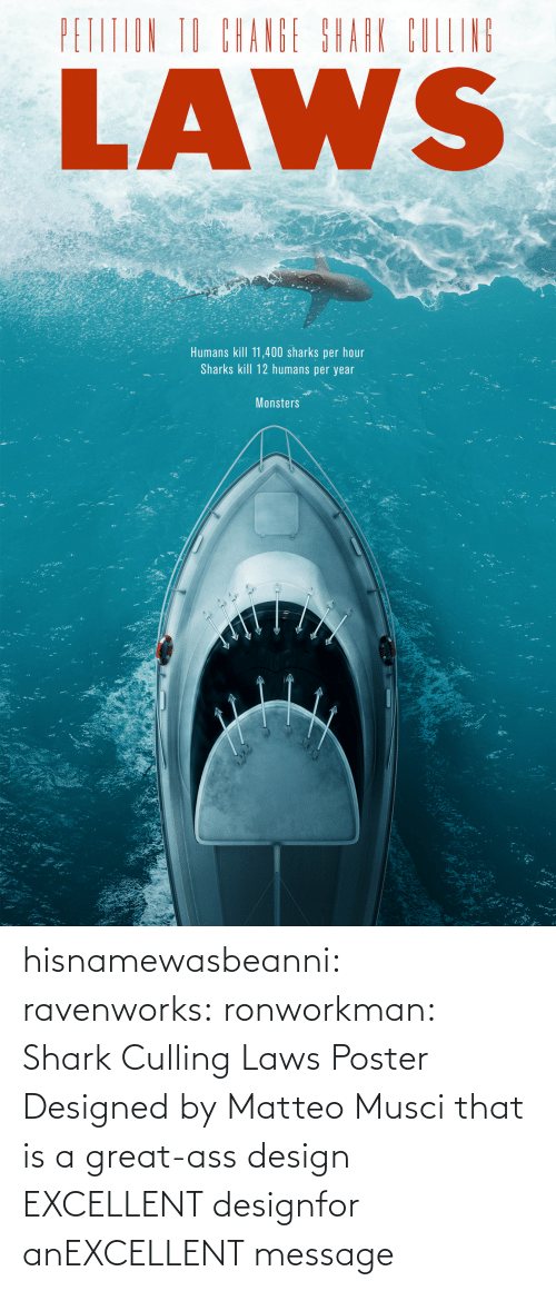 Poster: hisnamewasbeanni: ravenworks:  ronworkman:  Shark Culling Laws Poster Designed by Matteo Musci    that is a great-ass design  EXCELLENT designfor anEXCELLENT message