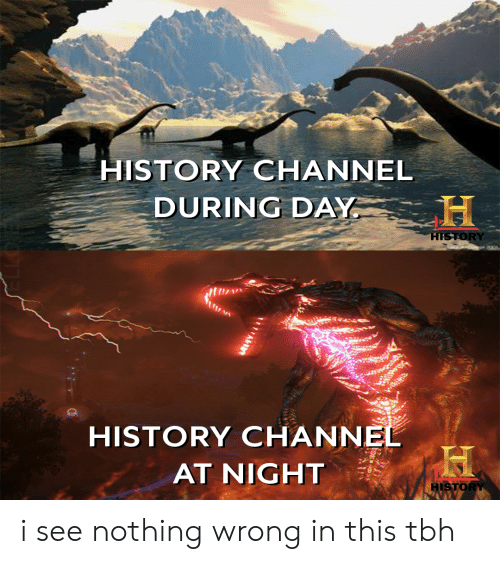 Tbh, History, and History Channel: HISTORY CHANNEL  DURING DAY  HISTORY  20c  HISTORY CHANNEL  AT NIGHT  HISTORY  A i see nothing wrong in this tbh