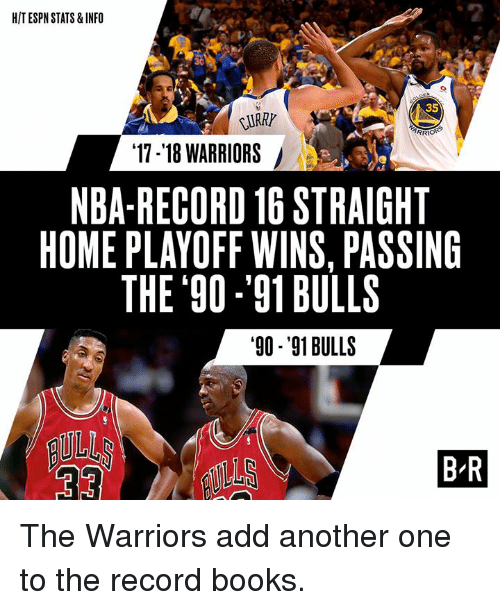 Another One, Books, and Espn: HIT ESPN STATS& INFO  2  30  35  URRY  ARR  17-'18 WARRIORS  NBA-RECORD 16 STRAIGHT  HOME PLAYOFF WINS, PASSING  THE 90 -'91BULLS  90-'91 BULLS  BR The Warriors add another one to the record books.