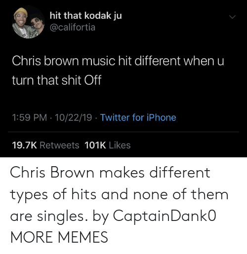 Types Of: hit that kodak ju  @califortia  Chris brown music hit different when u  turn that shit Off  1:59 PM 10/22/19 Twitter for iPhone  19.7K Retweets 101K Likes Chris Brown makes different types of hits and none of them are singles. by CaptainDank0 MORE MEMES