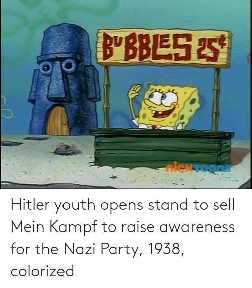 mein: Hitler youth opens stand to sell Mein Kampf to raise awareness for the Nazi Party, 1938, colorized
