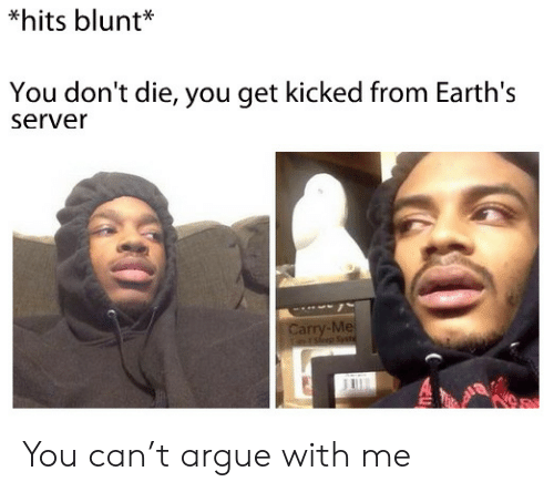 hits blunt: *hits blunt*  You don't die, you get kicked from Earth's  server  Carry-Me  rsep Sst You can't argue with me