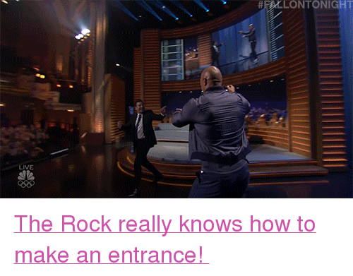 """Justin TImberlake: HLLONTONIGHT  LIVE <p><a href=""""https://www.nbc.com/the-tonight-show/video/justin-timberlake-dwayne-johnson-this-is-us-cast/3661002"""" target=""""_blank"""">The Rock really knows how to make an entrance!</a></p>"""