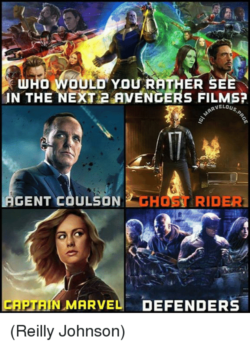Gent: HO WOULD YOU RATHER SEE  IN THE NEXT 2 AVENGERS FILMS?  RVELOUS  GENT COULSON HOST RIDER  CAPTAIN MARVEL DEFENDERS (Reilly Johnson)