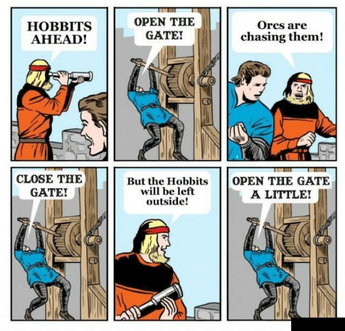 The Hobbits: HOBBITS  AHEAD!  OPEN THE  GATE!  Orcs are  chasing them!  CLOSE THE  GATE!  But the Hobbits  will be left  outside!  OPEN THE GATE  A LITTLE!  ED