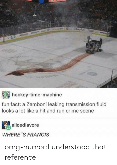 Crime, Hockey, and Omg: hockey-time-machine  fun fact: a Zamboni leaking transmission fluid  looks a lot like a hit and run crime scene  alicediavore  WHERE 'S FRANCIS omg-humor:I understood that reference