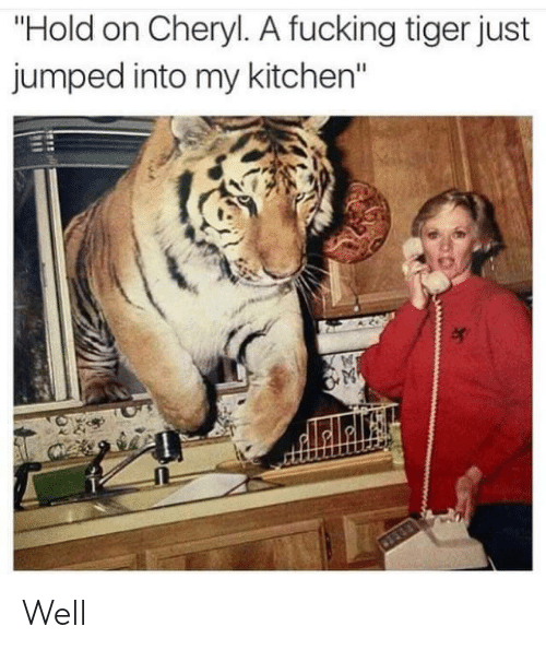 "Fucking, Tiger, and Jumped: ""Hold on Cheryl. A fucking tiger just  jumped into my kitchen"" Well"
