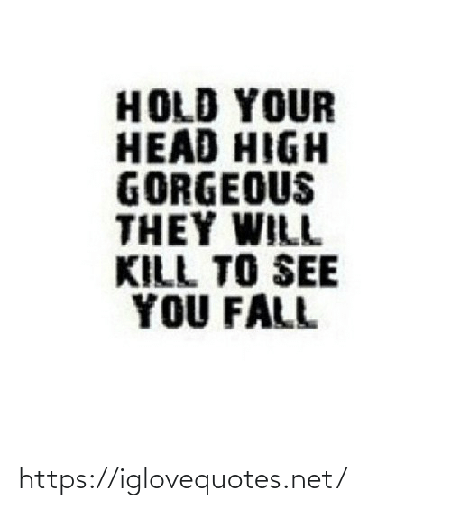 Gorgeous: HOLD YOUR  HEAD HIGH  GORGEOUS  THEY WILL  KILL TO SEE  YOU FALL https://iglovequotes.net/