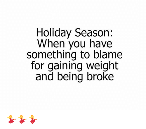 Being Broke, Memes, and 🤖: Holiday Season:  When you have  something to blame  for gaining weight  and being broke 💃💃💃