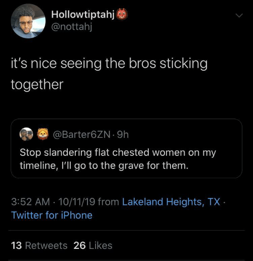Flat: Hollowtiptahj  @nottahj  it's nice seeing the bros sticking  together  EG @Barter6ZN · 9h  Stop slandering flat chested women on my  timeline, I'll go to the grave for them.  3:52 AM 10/11/19 from Lakeland Heights, TX ·  Twitter for iPhone  13 Retweets 26 Likes