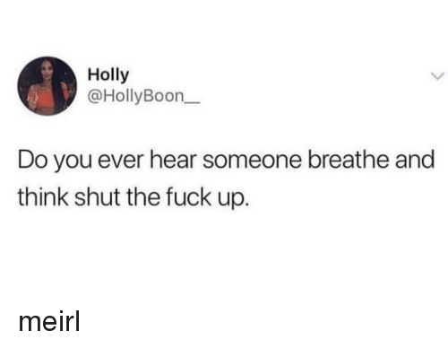 Fuck, Shut the Fuck Up, and MeIRL: Holly  @HollyBoon  Do you ever hear someone breathe and  think shut the fuck up. meirl