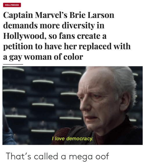 Diversity: HOLLYWOOD  Captain Marvel's Brie Larson  demands more diversity in  Hollywood, so fans create a  petition to have her replaced with  a gay woman of color  I love democracy That's called a mega oof