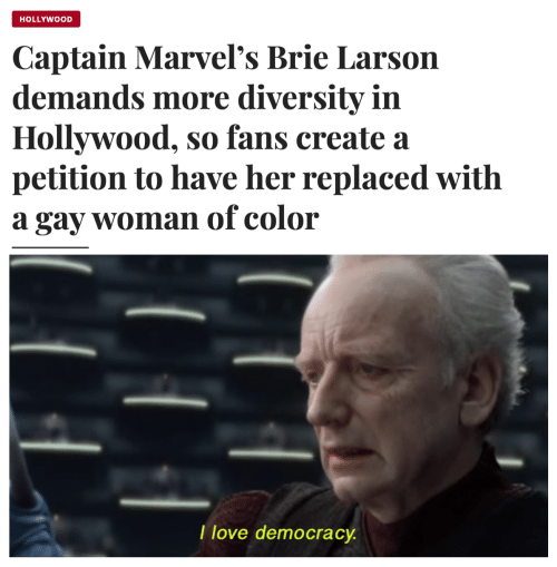 Love, Democracy, and Diversity: HOLLYWOOD  Captain Marvel's Brie Larson  demands more diversity in  Hollywood, so fans create a  petition to have her replaced with  gay womanof color  а  T love democracy