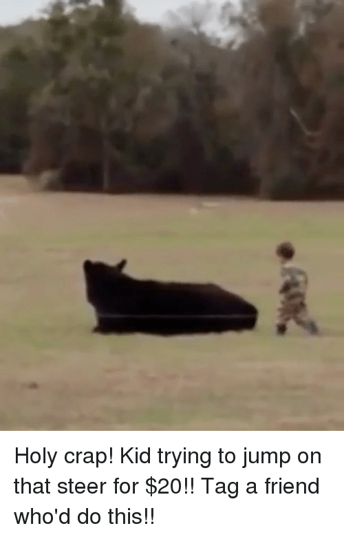 Crapping: Holy crap! Kid trying to jump on that steer for $20!! Tag a friend who'd do this!!
