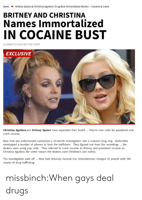 aguilera: Home  Britney Spears & Christina Aguilera: Drug Bust Immortalizes Names-Cocaine & Crack  BRITNEY AND CHRISTINA  Names Immortalized  IN COCAINE BUST  33 MINUTES AGO BY TMZ STAFF  EXCLUSIVE  Christina Aguliera and Britney Spears have expanded their brand  crack cocaine.  they're now code for powdered and  New York law enforcement conducted a 10-month investigation into a massive drug ring. Authorities  wiretapped a number of phones to bust the traffickers. They figured out from the recordings the  dealers were using pop code. They referred to crack cocaine as Britney and powdered cocaine as  Christina Aguilera (for some reason the dealers used Christina's last name).  The investigation paid off  counts of drug trafficking.  New York Attorney General Eric Schneiderman charged 25 people with 340 missbinch:When gays deal drugs
