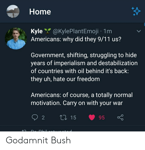 9/11, Home, and Freedom: Home  Kyle@KylePlantEmoji 1m  Americans: why did they 9/11 us?  Government, shifting, struggling to hide  years of imperialism and destabilization  of countries with oil behind it's back:  they uh, hate our freedom  Americans: of course, a totally normal  motivation. Carry on with your war  LI 15  2  95  DK Godamnit Bush