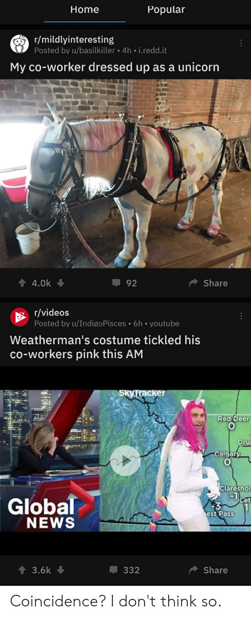 Deer, News, and Videos: Home  Popular  r/mildlyinteresting  Posted by u/basilkiller 4h.i.redd.it  My co-worker dressed up as a unicorn  Share  4.0k  92  r/videos  Posted by u/IndigoPisces 6h voutube  Weatherman's costume tickled his  co-workers pink this AM  SkyTracker  Red Deer  Dru  Calgary  Clareshol  Global  NEWS  Let  est PasS  3.6k  Share  332 Coincidence? I don't think so.