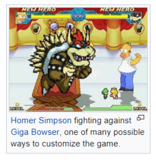 Homer Simpson: Homer Simpson fighting against  Giga Bowser, one of many possible  ways to customize the game.