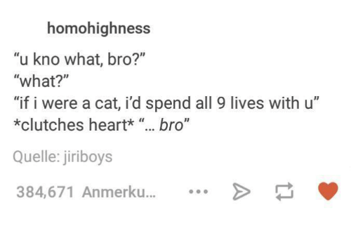 "Dank, Heart, and 🤖: homohighness  ""u kno what, bro?""  ""what?""  ""if i were a cat, id spend all 9 lives with u""  *clutches heart*  bro""  Quelle: jiriboys  384,671 Anmerku..."