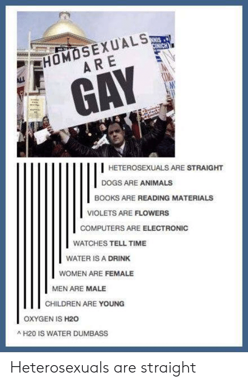 h20: HOMOSEXUALS  ARE,  GAY  HETEROSEXUALS ARE STRAIGHT  DOGS ARE ANIMALS  BOOKS ARE READING MATERIALS  VIOLETS ARE FLOWERS  COMPUTERS ARE ELECTRONIC  WATCHES TELL TIME  WATER IS A DRINK  WOMEN ARE FEMALE  MEN ARE MALE  CHILDREN ARE YOUNG  OXYGEN IS H20  H20 IS WATER DUMBASS Heterosexuals are straight