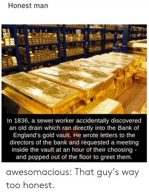 Tumblr, Bank, and Blog: Honest man  In 1836, a sewer worker accidentally discovered  an old drain which ran directly into the Bank of  England's gold vault. He wrote letters to the  directors of the bank and requested a meeting  inside the vault at an hour of their choosing -  and popped out of the floor to greet them. awesomacious:  That guy's way too honest.
