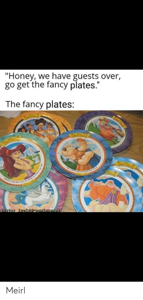 """Fancy, MeIRL, and Honey: """"Honey, we have guests over,  go get the fancy plates.""""  The fancy plates:  RICKLA  Insta: luciddreaminmemes Meirl"""