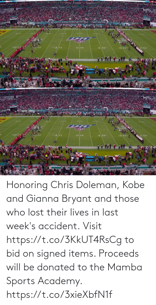 Kobe: Honoring Chris Doleman, Kobe and Gianna Bryant and those who lost their lives in last week's accident.  Visit https://t.co/3KkUT4RsCg to bid on signed items. Proceeds will be donated to the Mamba Sports Academy. https://t.co/3xieXbfN1f