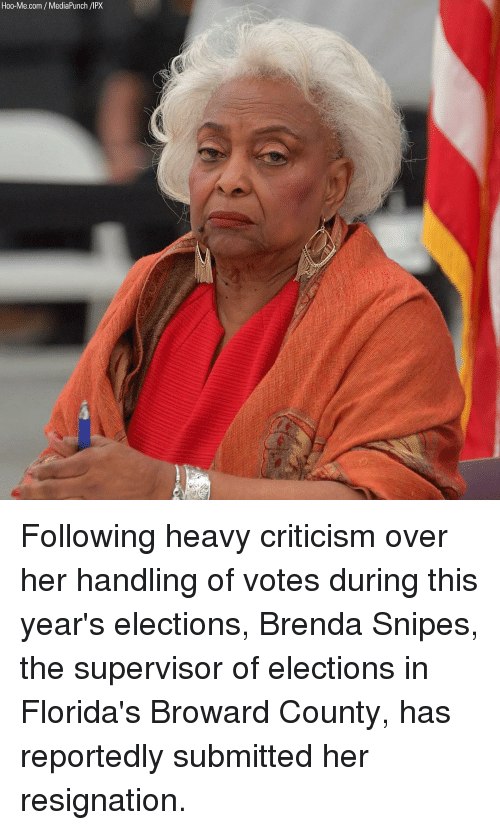 Memes, Criticism, and 🤖: Hoo-Me.com /MediaPunch /IPX Following heavy criticism over her handling of votes during this year's elections, Brenda Snipes, the supervisor of elections in Florida's Broward County, has reportedly submitted her resignation.