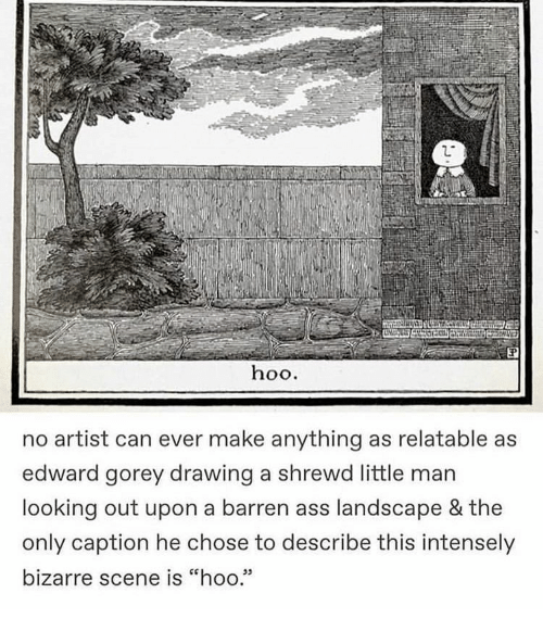"edward: hoo.  no artist can ever make anything as relatable as  edward gorey drawing a shrewd little man  looking out upon a barren ass landscape & the  only caption he chose to describe this intensely  bizarre scene is ""hoo.""  05"