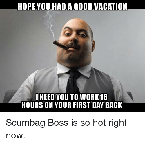 Hope You Had A Good Vacation Need You To Work16 Hours On Your