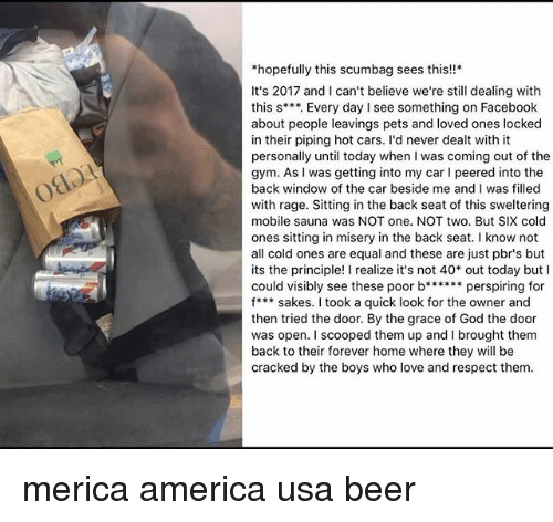 America, Beer, and Cars: *hopefully this scumbag sees this!!*  It's 2017 and I can't believe we're still dealing with  this s***. Every day I see something on Facebook  about people leavings pets and loved ones locked  in their piping hot cars. I'd never dealt with it  personally until today when I was coming out of the  gym. As I was getting into my car I peered into the  back window of the car beside me and I was filled  with rage. Sitting in the back seat of this sweltering  mobile sauna was NOT one. NOT two. But SIX cold  ones sitting in misery in the back seat. I know not  all cold ones are equal and these are just pbr's but  its the principle! I realize it's not 40 out today butI  could visibly see these poor b****perspiring for  f*** sakes. I took a quick look for the owner and  then tried the door. By the grace of God the door  was open. I scooped them up and I brought them  back to their forever home where they will be  cracked by the boys who love and respect them  080 merica america usa beer